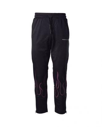 """Pantalone nero con ricamo """"Pink Flames"""""""